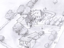buzzards-eye-view-sketch-accompanying-the-planning-application-for-a-house-with-workshop-and-gte